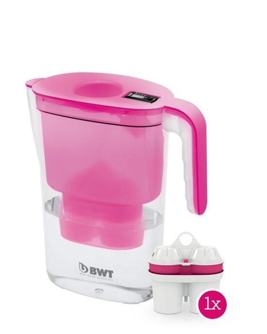 Cana filtranta Vida 2,6 l roz, cu indicator electronic + Cartus filtrant Magneziu